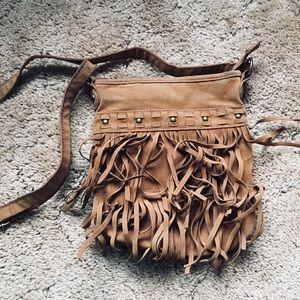Handbags - Brown Fringe Crossbody